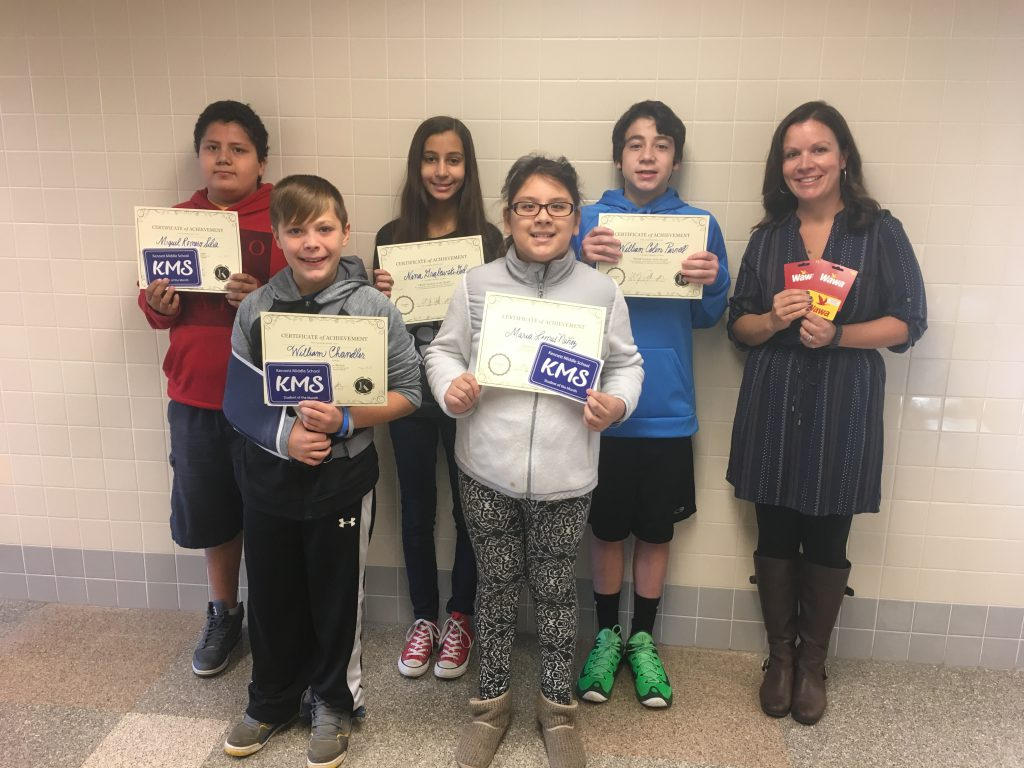 The October PRIDE Students of the Month with the PRIDE Teacher of the Month, Mrs. Bujak!
